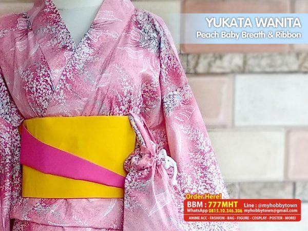 Yukata/Kimono Wanita : Peach Baby Breath And Ribbon